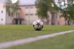 Fußballkugel auf dem Feld stockbilder