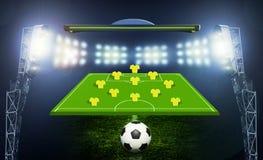 Fußballkugel auf dem Feld des Stadions Lizenzfreie Stockfotografie