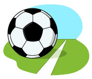 Fußballkugel auf Feld Abbildung Stockfoto
