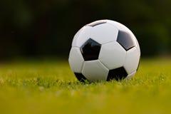 Fußballkugel auf grünem Feld Stockfotografie