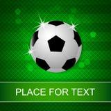 Fußballkugel auf grünem Hintergrund Lizenzfreie Stockfotos