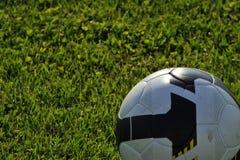 Fußballkugel auf Gras Stockfotografie