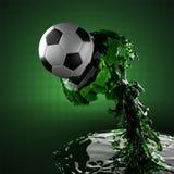 Fußballkugel in der Flüssigkeit Stockfotografie