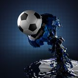 Fußballkugel in der Flüssigkeit Lizenzfreie Stockfotografie