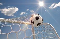 Fußballkugel im Netz stock abbildung