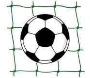 Fußballkugel im Netz Stockfoto