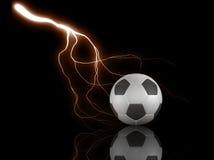 Fußballkugel und -blitz Stockfotografie