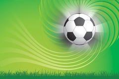 Fußballkugel und grüner Hintergrund Lizenzfreies Stockbild