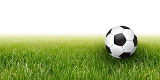 Fußballkugel und -gras Lizenzfreies Stockbild