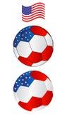 Fußballkugel von Amerika mit Flugwesen Markierungsfahne Stockbilder