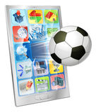 Fußballkugelflugwesen aus Handy heraus Stockfotos