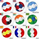 Fußballkugeln der deferent Länder Stockfotografie