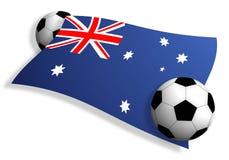 Fußballkugeln u. Markierungsfahne von Australien Lizenzfreie Stockfotos