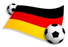 Fußballkugeln u. Markierungsfahne von Deutschland Stockbilder