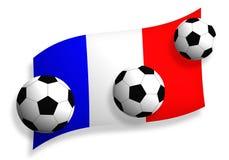 Fußballkugeln u. Markierungsfahne von Frankreich Stockfoto