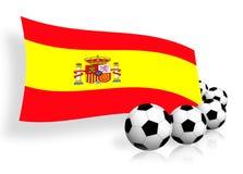 Fußballkugeln u. Markierungsfahne von Spanien Stockfotografie