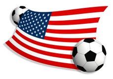 Fußballkugeln u. Markierungsfahne von USA Lizenzfreies Stockbild
