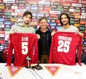Fußballlivorno-Darstellung Sini und Morosini Lizenzfreies Stockfoto