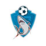 Fußballlogodesign, Blauhaifußballteam, Vektor illustratio vektor abbildung