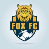 Fußballlogodesign mit Wolfgraphik, Fußballschild, Vektor stock abbildung