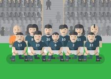 Fußballmannschaftsspieler in der einheitlichen flachen Grafik lizenzfreies stockfoto