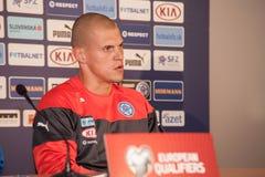 Fußballmannschaftsspieler Martins Å der Slowakischen Republikkrtel Stockfotos