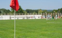 Fußballmarkierungsfahne Stockfoto