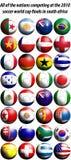 Fußballmarkierungsfahnen mit 2010 Weltcupen Stockbilder
