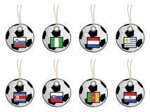Fußballmarkierungsfahnenmarken Stockfotos