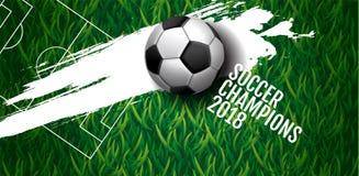 Fußballmeisterschafts-Cuphintergrund, Fußball, Russland 2018, vect Stockfoto