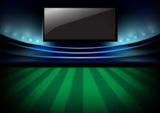 Fußballnachtarena, Fußballnachtstadion und Monitor vector d Lizenzfreie Stockfotografie