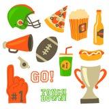 Fußballparteivektor-Ikonensatz Superschüsselfeier r Sportspiel Sturzhelm, Preis, Schale, vektor abbildung