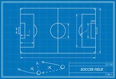 Fußballplatz auf Plan Stockbilder