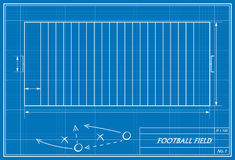 Fußballplatz auf Plan Stockfotos