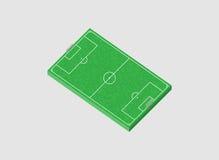 Fußballplatz 3D Abbildung Lizenzfreie Stockfotos