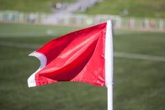 Fußballplatz des grünen Grases, Eckflaggennahaufnahme stockbild