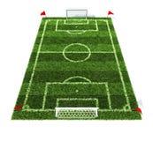 Fußballplatz getrennt auf weißem Hintergrund Stockfotos