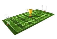 Fußballplatz mit der goldenen Trophäe Lizenzfreies Stockfoto