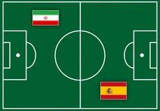Fußballplatz mit Flaggen stock abbildung