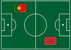 Fußballplatz mit Flaggen lizenzfreie abbildung