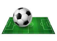 Fußballplatz mit Kugel -   Stockfoto