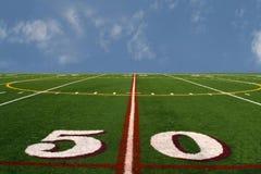 Fußballplatz am Rand der Erde Lizenzfreie Stockbilder
