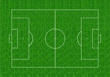 Fußballplatzplan auf Hintergrund des grünen Grases Stockfotografie