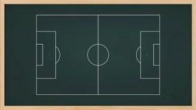 Fußballplatzplan für schaffen Fußballspieltaktik auf Tafel Stockfotografie