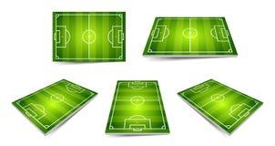 Fußballplatzsatz Perspektive und isometrische Ansicht, lokalisierte Elemente Auch im corel abgehobenen Betrag Stockfotografie