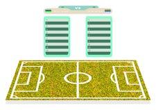 Fußballplatzspieler für realistische Planungsspielstandskarte das playe Stockfoto