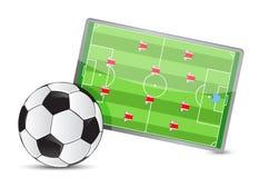 Fußballplatztaktiktabelle, Fußbälle Stockfoto