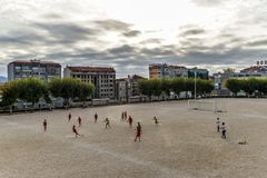 Fußballpraxis in Vigo - Spanien stockfotografie