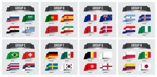 Fußballschale 2018 Satz Staatsflaggen team Gruppe A - H Klebriges Anmerkungsdesign Vektor für internationales Weltmeisterschaft t Stockfotografie
