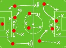 Fußballspiel-Aktionsplan Stockbild